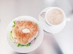 Bagel and latte at Cafe Loki